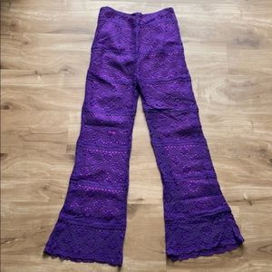 1970s Disco Glam Purple Lace Bell Bottom Pants